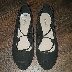 Nicole black open toe flats size 7 W